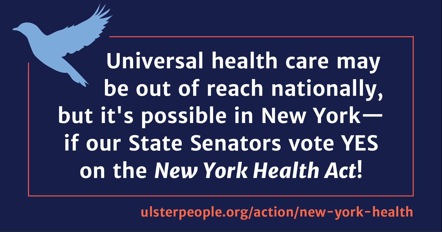 Universal health care may be out of reach nationally, but it's possible in New York— if our State Senators vote YES on the New York Health Act!