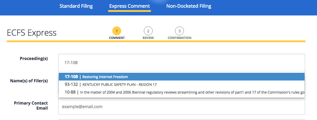 FCC Express Comment Screenshot