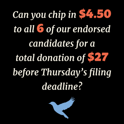 Can you chip in $4.50 to all 6 of our endorsed candidates?